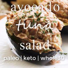 The best avocado avocado tuna salad recipe—perfect keto and paleo lunch. Get all 27 keto lunch recipes now! Best Lunch Recipes, Healthy Recipes, Healthy Drinks, Diet Recipes, Healthy Lunches, Wrap Recipes, Avocado Recipes, Dinner Healthy, Keto Dinner