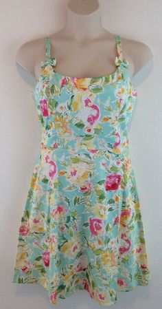 K & COMPANY Aqua Blue Floral Bow Cotton Blend Knee Length Sun Dress 12 #KCompany #Sundress #Casual