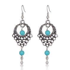 Fashion Vintage Silver Plated Bohemia Style Blue Turquoise Drop Earings Long Bead Tassel Dangle Earrings For Women