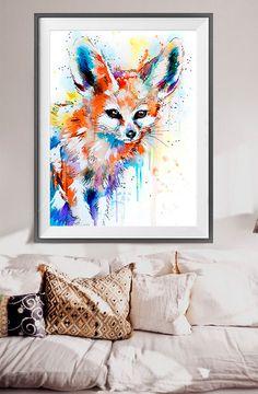 Fennec Fox watercolor painting print animal art by SlaviART