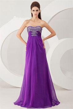 Beautiful Sheath Strapless Cut Out Long Purple Chiffon Beaded Evening Prom Dress