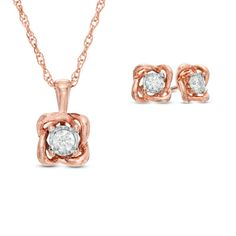 Zales: 1/4 CT. T.W. Diamond Solitaire Twist Pendant and Earrings Set in 10K Rose Gold