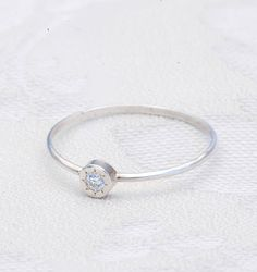Thin 14k white gold wedding band Minimalist gold ring with a diamond ,wedding ring with diamond, silver ring, engagement ring