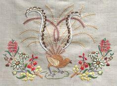 Lyre Bird embroidery
