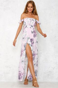 Float on by in the Butterfly Effect Maxi Dress, with a cute off the shoulder…