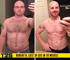 "Robert B. lost 24 lbs in 10 weeks of Focus T25!    ""I gained confidence and dropped the depression and anxiety! I have never been in better shape at any age, including after boot camp."""