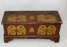 Pennsylvania Dutch Painted Blanket Chest - tulip and heart decoration dated 1808.