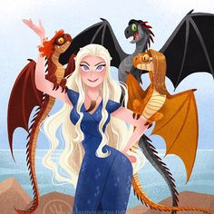 Mother of Dragons By Elsa Chang Game Of Thrones Drawings, Arte Game Of Thrones, Got Dragons, Mother Of Dragons, Arya Stark, Character Design Animation, Character Art, Elsa Chang, Game Of Thones