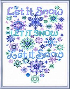 Let it Snow Flakes - cross stitch pattern designed by Ursula Michael. Category: Words.