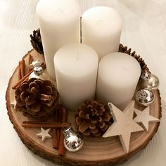 Tree Slice Winter Decoration Candles Advent Wreath, - Diy W .- Baumscheibe Winterdekoration Kerzen Adventskranz, … – Diy W… Tree slice winter decoration candles advent wreath, - After Christmas, Noel Christmas, Christmas Candles, Christmas Centerpieces, Xmas Decorations, Christmas Wreaths, Christmas Crafts, Advent Wreath Candles, Advent Wreaths