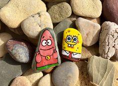 Hand Painted Rock Pet  best friend sponge bob patric by LoveMue