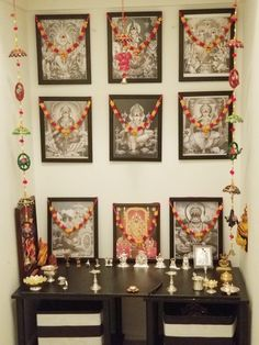 Home temple decoration Pooja Room Design, Home Room Design, Indian Home Design, Goddess Decor, Pooja Rooms, Prayer Room, Indian Decor, Room Door Design, Pooja Room Door Design