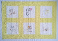 Vintage Handmade Baby Crib Quilt Blanket Unisex Yellow Embroidered Animals CUTE! | Baby, Nursery Bedding, Blankets & Throws | eBay!