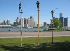 Art Gallery of Windsor Grounds, The Three FatesPhotos taken from Windsor Ontario, Detroit Mi.in Background