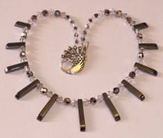 Silver, Swarovski Crystal And Haematite Necklace With Graduated Beads - pinned by pin4etsy.com