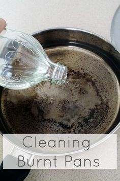 soak burnt pan in a magical solution overnight: baking soda, vinegar and water. a perfect solution for burnt pans