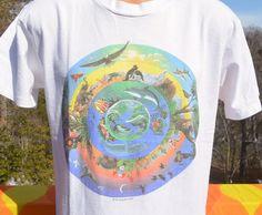 vintage 90s tee shirt ANIMALS endangered nature human-i-tees save environment love hippie earth t-shirt Medium Large by skippyhaha