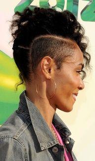 jada pinkett mohawk - she's so dope Shaved Side Hairstyles, Mohawk Hairstyles, Short Hair Mohawk, Relaxed Hairstyles, Braided Mohawk, Black Hairstyles, Mohawk Styles, Curly Hair Styles, Natural Hair Styles