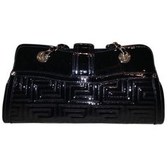 Pre-owned Versace Collection Shoulder Bag ($414) ❤ liked on Polyvore featuring bags, handbags, shoulder bags, black, shoulder bag purse, handbag purse, chain-strap handbags, pre owned purses and chain handle handbags