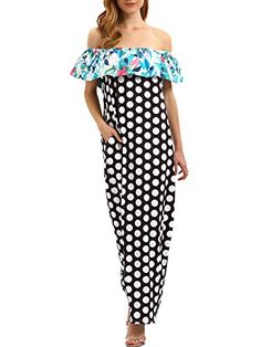b405c740f360 SheIn Womens Off Shoulder Polka Dot Elegant Party Maxi Dress Medium  Multicolored >>