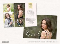Graduation Announcement Templates DETAILS- a template to customize on your own- 1 flat card design, front and back, inches- 2 P by OtoStudio Son Birthday Quotes, Graduation Invitations, Graduation Ideas, Graduation Cards, Senior Invitations, Graduation Templates, Invitation Ideas, Party Invitations, Senior Announcements