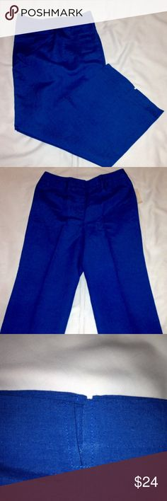 Pants Blue linen ankle length pants with faux pockets with slit on ankle. Never Worn, Still have tags. Bought  them but they don't fit and cannot return because it was a Final Sale Item. Size 8. 55% Linen, 45% Rayon, Lining 100% Polyester Dress Barn Pants Ankle & Cropped