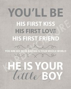 "Typography Print ""He is your LITTLE BOY"" nursery art - children's room art -  Size 8x10 - ENGLISH"