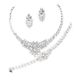 Designer Inspired 3 Piece- Necklace Earring Bracelet Bridal Set Crystals Silver - Jewelry For Her