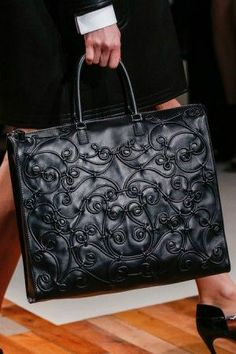 Valentino Black Embroidered Large Tote Bag - Fall 2013 Runway