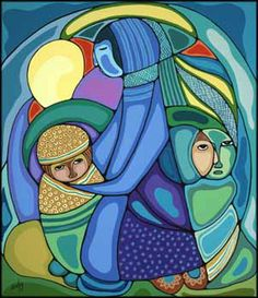"by Daphne Odjig, Anishinaabe (Odawa & Potawatami) from Wikwemikong Manitoulin Island, ON ""Mother and Child"" Native Art, Native American Art, American Artists, Daphne Odjig, Claudia Tremblay, Woodland Art, Small Drawings, Modern Art Paintings, Indigenous Art"
