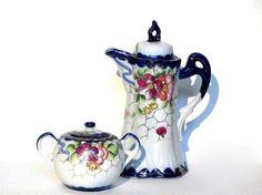 Vintage Moriage Chocolate Pot Teapot Set Cobalt Blue by recreated1