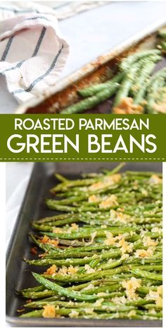 green bean recipes Roasted Parmesan Green Beans- delicious fresh green beans are roasted with a crunchy mixture of parmesan cheese and panko bread crumbs. They make the perfect side dish for any meal. Veggie Side Dishes, Side Dish Recipes, Food Dishes, Healthy Side Dishes, Recipes Dinner, Side Dishes For Lasagna, Good Side Dishes, Side Dishes For Burgers, Simple Side Dishes