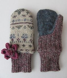 Felted Wool Sweater Mittens Fleece Lined Oatmeal Berry and Blue Fair Isle