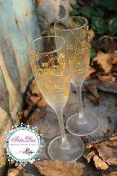 Frosty Wedding champagne Glasses hand painted Silver by ArtsLux
