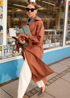 & Other Stories | Inspiration | Belted Oversized Trenchcoat | Utility Crossbody | Square Sunglasses | Cropped Denim Jacket | Kitten Heel Slingback Pumps | High Waisted Culotte Jeans