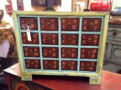 """Asian Apothecary Chest   20"""" Wide x 9"""" Deep x 17.5"""" High   $195  Grace Designs Booth #333  City View Antique Mall  6830 Walling Lane Dallas, TX 75231  Like us on Facebook: https://www.fac"""