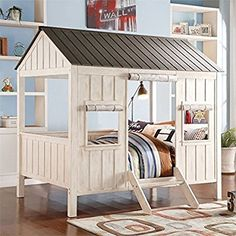 ACME Furniture 37655F Spring Cottage Bed, Full, Weathered White & Washed Gray