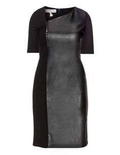 Dresses Unlimited Faux leather panel dress in Black