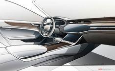 New Audi Sportback Unveiled Audi A7 Interior, Car Interior Sketch, Car Interior Design, Interior Design Sketches, Car Design Sketch, Automotive Design, Car Sketch, Audi A7 Sportback, Bmw 6 Series