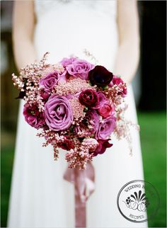 "Plum Wedding Bouquet Recipes  Soft Pink Andromeda blooms {3-4 stems}  Lavender ""Cool Waters"" Roses {6 stems}  Purple Ranunculus {10 stems}  Rice Flower {5 stems}"