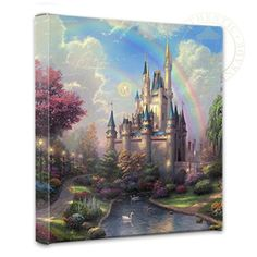 Thomas Kinkade A New Day at The Cinderella Castle print for sale. Shop for Thomas Kinkade A New Day at The Cinderella Castle painting and frame at discount price, ships in 24 hours. Cheap price prints end soon. Thomas Kinkade Disney, Thomas Kinkade Art, 3d Fantasy, Fantasy Castle, Fairytale Castle, Cinderella Castle, Princess Castle, Cinderella Princess, Fantasy Princess