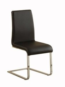 Chairback and seat covered in black vinyl/faux leather; Also available in black linen cover Chromed metal base frame. Packed in 2 cartons Sleek and Contemporary style dining room chair Acrylic Dining Chairs, Acrylic Chair, Dining Room Chairs, Dining Room Furniture, Side Chairs, Dining Tables, Pony Style, Stainless Steel Table, Chair Backs
