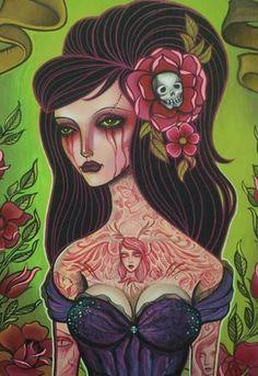 Whitney Lenox Of Artistic Element Tattoo Studio Ink Butter Dark Fantasy Art, Dark Art, Lost In Translation, 3 Arts, Skull And Crossbones, Day Of The Dead, Tattoo Studio, Art Drawings, Horror