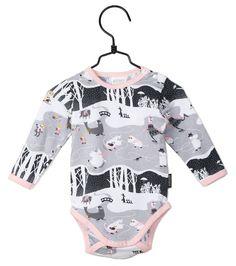 Moomin organic cotton baby bodysuit MOOMINS ON ICE - PINK