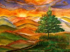 Sunrise Watercolor Painting, Landscape Watercolor Painting, Blue Ridge Parkway, Living room Decor painting, mountain sunrise painting, Love