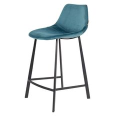 Scandinavian style high stool with metal structure, seat covered with velvet. Dimensions: Available in cm and in cm by misterwils_France Banquettes, High Stool, Metal Structure, Scandinavian Style, Dimensions, Furniture, Blue, Home Decor, Industrial Style