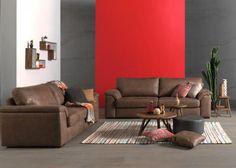 Collectie Prima-Lux en Idee+: Mooi hedendaags salon, met prachtig bravo leder voor een stoer design.