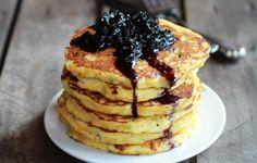 Jalapeño Cheddar Cornbread Pancakes with Roasted Blueberry Honey Syrup Recipe | http://aol.it/1rVo0Ww