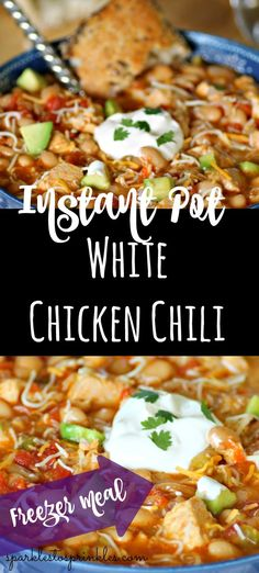 Instant Pot White Chicken Chili is a hearty chicken chili with a Tex-Mex flavor that will be leaving all your family reaching for another scoop of soup. Pin for Later! Instant Pot, Creamy White Chicken Chili, White Chili, Thing 1, Quick Weeknight Meals, Pressure Cooker Recipes, Pressure Cooking, Slow Cooker, Chili Recipes