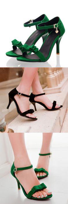 #Туфли на высоком каблуке, сандалии сладкая мода с бантом черные , зеленые , розовые. http://ali.pub/pzjs2